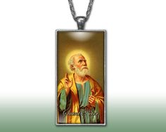 Saint Peter Pendant Charm Necklace Custom Silver Plated Jewelry Christian Religious