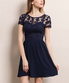 Look at this #zulilyfind! Navy Floral Crochet Semisheer Fit & Flare Dress #zulilyfinds