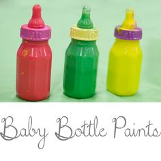 Perfect toddler activity!  Baby Bottle Paint Dobbers.  Keeps kids busy for HOURS! A cheap school age project
