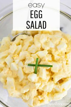 This easy egg salad is a quick and flavorful dish that's perfect for lunch or dinner. #eggs #eggsalad #hardboiledeggs #salad #mayonaisse #mayo #eggsaladsandwich #lunch #lunchrecipes #lunchideas #recipes #iheartnaptime Easy Egg Salad, Easy Salad Recipes, Easy Salads, Lunch Recipes, Vegan Recipes, Cheap Meals, Easy Meals, Make Ahead Lunches, Vegetable Recipes