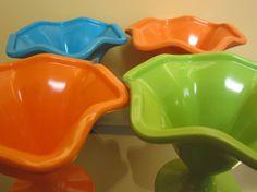 Vintage Melamine Footed Dessert Bowls/Glasses Set by vintagewares, $20.00