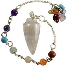 Clear Quartz 7 Chakra Pendulum, Healing Crystals, Reiki, Chakras