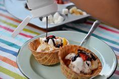 mini waffle bowls with ice cream