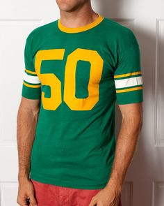 Number 50 Vintage Jersey Green and Yellow by GreatWhiteVintage