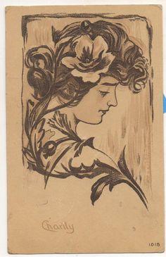 Charity, Art Nouveau Girl with Flowers Vintage Postcard