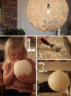 Lace Lamp/Doily Lamp - DIY from Dos Family. Click through for instructions. I adore this idea! It would even look great as just hanging orbs without a bulb. Fun Crafts, Diy And Crafts, Arts And Crafts, Light Crafts, Handmade Crafts, Diy Projects To Try, Craft Projects, Diy Lace Projects, Outdoor Projects