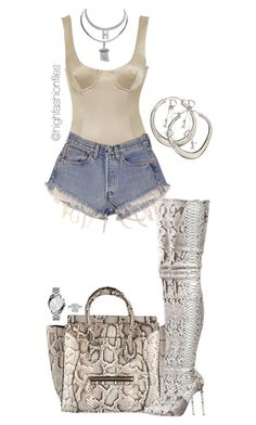 """""""Untitled #2769"""" by highfashionfiles on Polyvore featuring Levi's, CÉLINE, Christian Louboutin, Dinny Hall, Henri Bendel, Christian Dior and Michael Kors"""