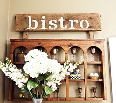Bistro Sign, diy project for the kitchen with stencil letters.