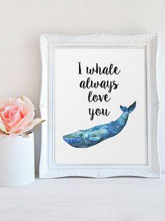 Nursery Decor I Whale Always Love You Quote by #PrintableBeautyArt #Nautical_Wall_Art #Navy_Blue_Print #Nautical_Nursery #Wall_Decor
