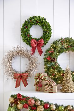 Try different sizes and styles of wreaths with coordinating ribbon to create a unique holiday statement above your mantel. Get more decorating ideas from #marthastewartliving