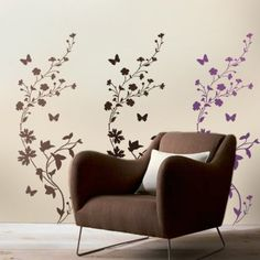 This beautiful flower stencil design will look stunning on you accent wall or as an allover stripe pattern in entire room. Use the same stencil to create beautiful stripes, a single stenciled accent, allover pattern or a border. Cutting Edge Stencils, Large Stencils, Flower Stencils, Damask Stencil, Stencil Designs, Stencil Patterns, Textured Walls, Wild Flowers, Wall Decals