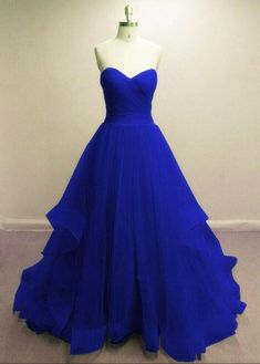 Tulle Prom Dresses, A-line Royal Blue Party Dresses, Formal Gowns 2018 – BeMyBridesmaid