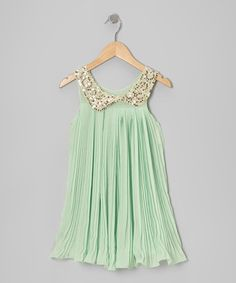 Take a look at this Mint Sequin Collar Party Dress - Girls by POP Couture on #zulily today!
