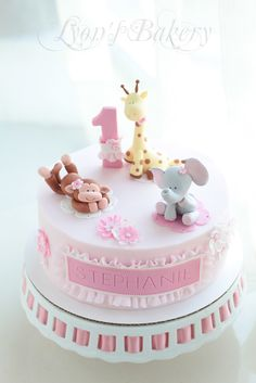 Pink Flower Cake with Girl Monkey , Giraffe & Elephant Topper (Stephanie)