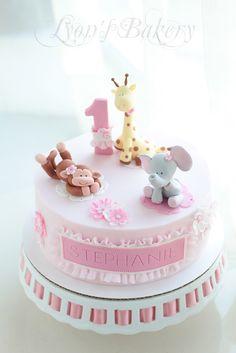 Pink Flower Cake with Girl Monkey , Giraffe & Elephant Topper (Stephanie)