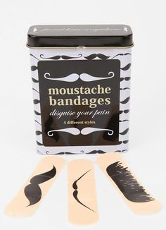 Moustache band-aids - how fun is that? Mode Bizarre, Just In Case, Just For You, Funny Commercials, Commercial Ads, Movember, Band Aid, Stocking Stuffers, Urban Outfitters