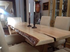 Maple slab with live edge dining table by Tom Coffey!