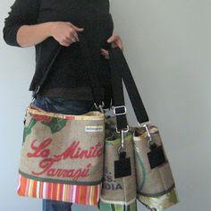 OneWomanStudio: new work Burlap Coffee Bags, Coffee Sacks, Burlap Projects, Burlap Crafts, Burlap Sacks, Hessian, Rice Bags, Sack Bag, New Work