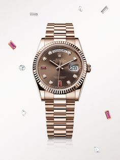 The Rolex Day-Date 36 in Everose gold, with a diamond-set chocolate dial and President bracelet.