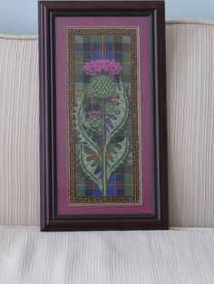 Thistle on a plaid- this is gorgeous! Wool Applique Patterns, Embroidery Patterns, Cross Stitch Patterns, Vintage Embroidery, Applique Designs, Scotland National Flower, Thistle Flower, Yarn Storage, Celtic Art