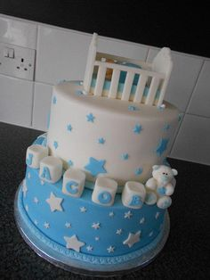 Baby in crib christening cake - Cake by nicolascakes