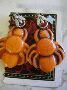 Orange Spider and Fly Gemstone Earrings by jansbeads on Etsy, $18.50 #spider #halloween #halloweenartistbazaar