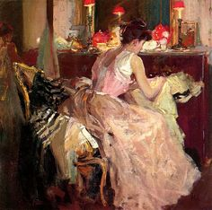 """""""Sewing by Lamplight"""" by Richard Emil Miller (American, 1875-1943)"""