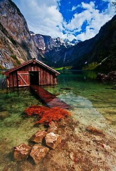 Beautiful Boathouse. Obersee Lake, Germany.