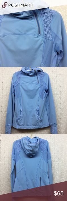 """Lululemon hooded Pullover Lululemon hooded Pullover. Blue. Great used condition with no flaws. Size 6. Armpit to armpit 17 1/2"""". Shoulder to bottom hem 26"""". lululemon athletica Tops Sweatshirts & Hoodies"""