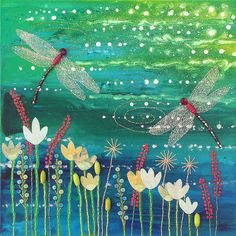 Original Art Mixed Media Canvas - Dragonfly pool by JoGrundy, via Flickr