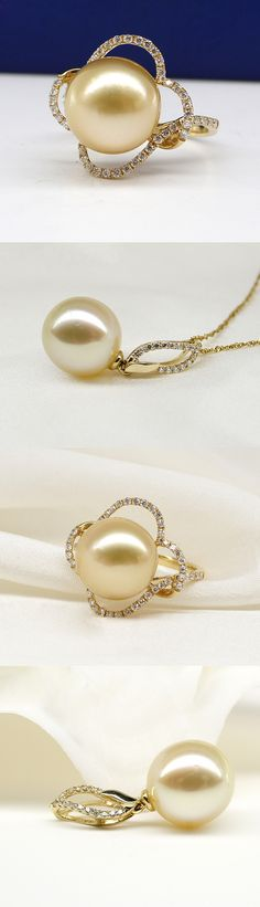 golden pearl ring and pendant set