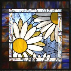 Daisy, Daisy, Give Me Your Answer True Stained Glass White Daisy Window Panel Mosaic Flowers, Stained Glass Flowers, Faux Stained Glass, Stained Glass Designs, Stained Glass Panels, Stained Glass Projects, Stained Glass Patterns, Mosaic Art, Mosaic Glass