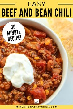 This easy Beef and Bean Chili is hearty and satisfying even for the most dedicated carnivore. Fresh corn adds a special flavor. Ready in 30 minutes but it tastes even better the next day so I use this as a meal prep recipe. My mom won a chili recipe contest with this wonderful savory recipe I was raised on! #homemade #mealprep #fromscratch