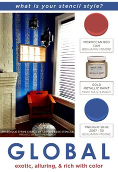 A blue Moroccan stenciled living room using the Arabesque Wall Stripe stencil. http://www.cuttingedgestencils.com/wall-stencil-stripe.html