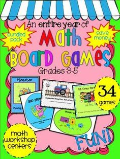 Math Games Galore!  You are getting 34 math games that cover nearly an entire year of math objectives.  I designed these games with my fourth grade... 4th Grade Math Games, 5th Grade Activities, Fourth Grade Math, Fun Math, Third Grade, Math Board Games, Classroom Games, Classroom Ideas, Homeschool Math