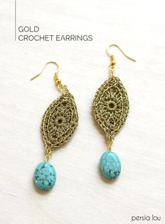 Crochet delicate gold earrings - free pattern and instructions