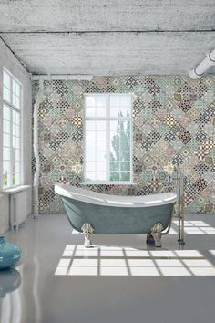 Casamance wallcovering Faience Fiction is digitally printed onto vinyl with a luxury texture and finish Clawfoot Tub Bathroom, Bathrooms, Casamance, Home Wallpaper, Cool Walls, Kitchen Remodel, Sweet Home, Design, Bathroom Inspiration
