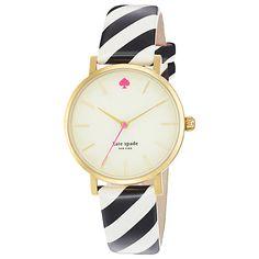 Buy kate spade new york 1YRU0181 Women's Metro Candy Stripe Leather Strap Watch, Black / White Online at johnlewis.com
