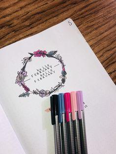 February bullet journal page #journaling #bulletjournaling #lettering #staedtler #flowers
