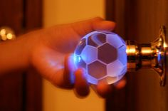 Soccer Ball Crystal Brass Passive door knob with LED mixing lighting touch activated.