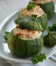 Zucchine tonde ripiene con salmone, gustose e simpatiche da servire, preparatele anche voi, farete un figurone.