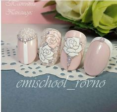 Beautiful elegant pastel with rose and white rose with pearl and glitter