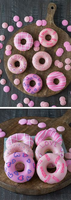 Valentines Day Donuts - treat your Valentine to a batch of these cute homemade donuts! Valentines Day Donuts - treat your Valentine to a batch of these cute homemade donuts! Valentines Day Food, Valentine Treats, Holiday Treats, Walmart Valentines, Valentine Party, Dessert Party, Party Desserts, Yummy Treats, Sweet Treats