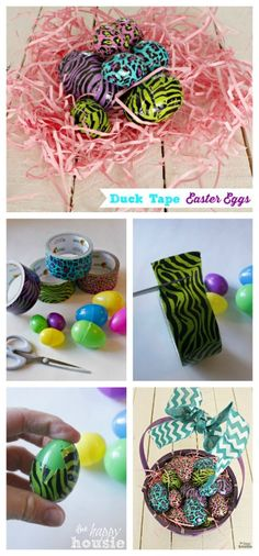 Easy Duck Tape Easter Eggs How To at The Happy Housie