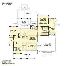 Plan of the Week Under 2500 sq ft - The Virgil house plan 1564! 1578 sq ft | 3 Beds | 2 Baths This simple, modern farmhouse offers a board-and-batten exterior and large windows. The floor plan is impressive, given the square footage, with a spacious island kitchen, breakfast nook, and dining space. #wedesigndreams #modernfarmhouse