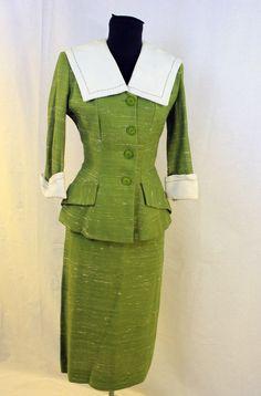 1940s Green Tweed Skirt Suit