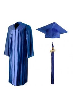 Shiny Sky Blue Graduation Cap, Gown, Tassel & Diploma Cover ...