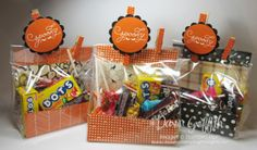 """2015 VIDEO Candy Treat Bags ... VERY SIMPLE ... You will need a piece of Designer paper cut at 4 3/4"""" x 10"""" and also a Gusseted Cellophane bag # 133770 - See more at: http://dawnsstampingthoughts.typepad.com/dawns_stampin_studio/2015/08/candy-treat-bags-video-.html#sthash.hZxwkK8U.dpuf"""
