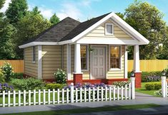 House Plan 61482 - Cottage , Traditional , House Plan with 412 Sq Ft, 1 Bed, 1 Bath Cottage House Plans, Cottage Homes, Cottage Style, Farm House, Cozy Cottage, Bungalow House Plans, House Floor Plans, Best House Plans, Small House Plans