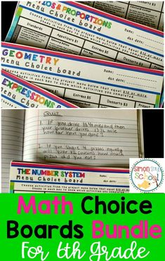Math Choice board bundle for 6th grade includes 5 boards with no activities that are alike.  Students will love these engaging activities that allow for choice.  Includes boards for ratios & proportions, geometry, expressions & equations, number system and statistics & probability.  These low prep projects can be used throughout the year for early finishers, homework or centers.  #math #mathchoiceboards #6thgrademath